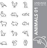 Linelinge Animals 01 Thin line icon sets
