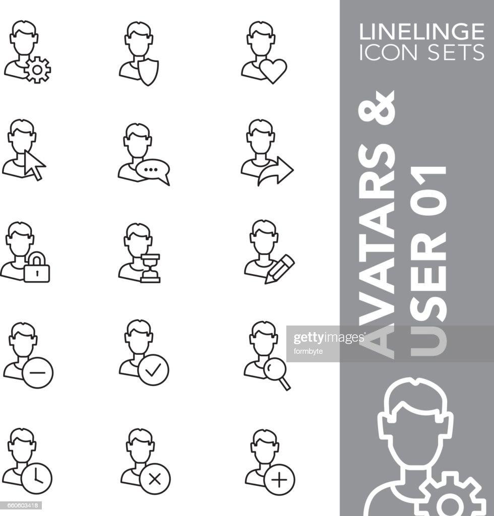 Linelinge Avatars and User 01 Thin line icon sets
