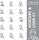 Linelinge Avatars and User 01 Thin line icon sets
