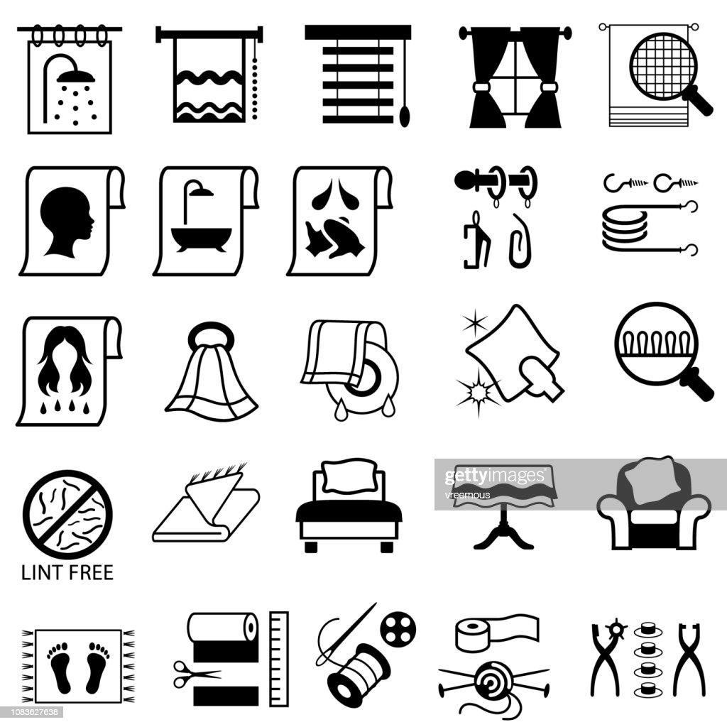 Linen, Haberdashery and Household Fabric icons. : stock illustration