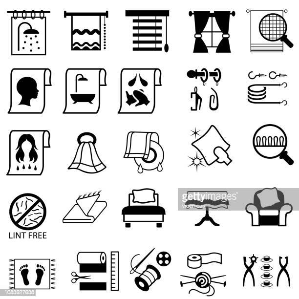 linen, haberdashery and household fabric icons. - blanket stock illustrations, clip art, cartoons, & icons