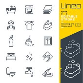 Lineo Editable Stroke - Cleaning and Housework line icons