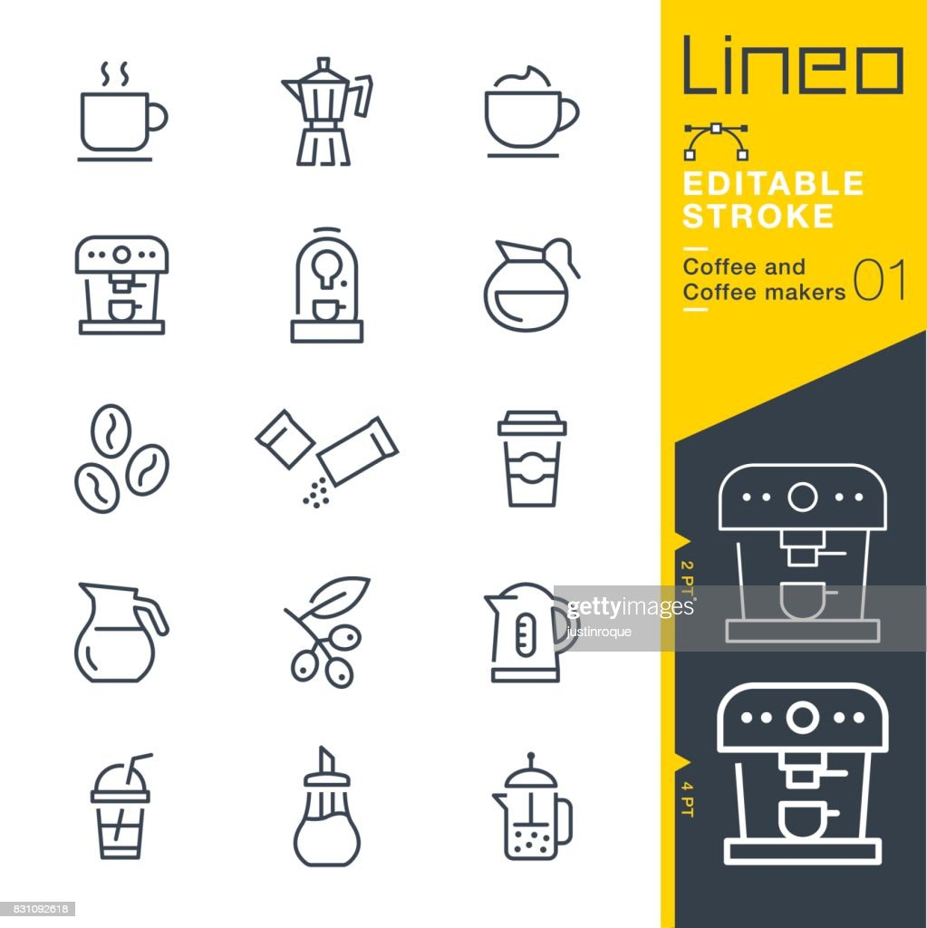 Lineo Editable Stroke - Coffee line icons