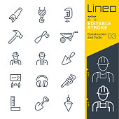 Lineo Editable Stroke - Construction and Tools line icons