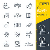 Lineo Editable Stroke - Crime, Law and Justice line icons
