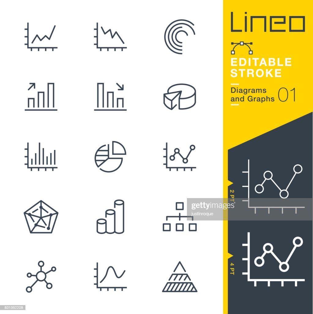 Lineo Editable Stroke - Diagrams and Graphs line icons