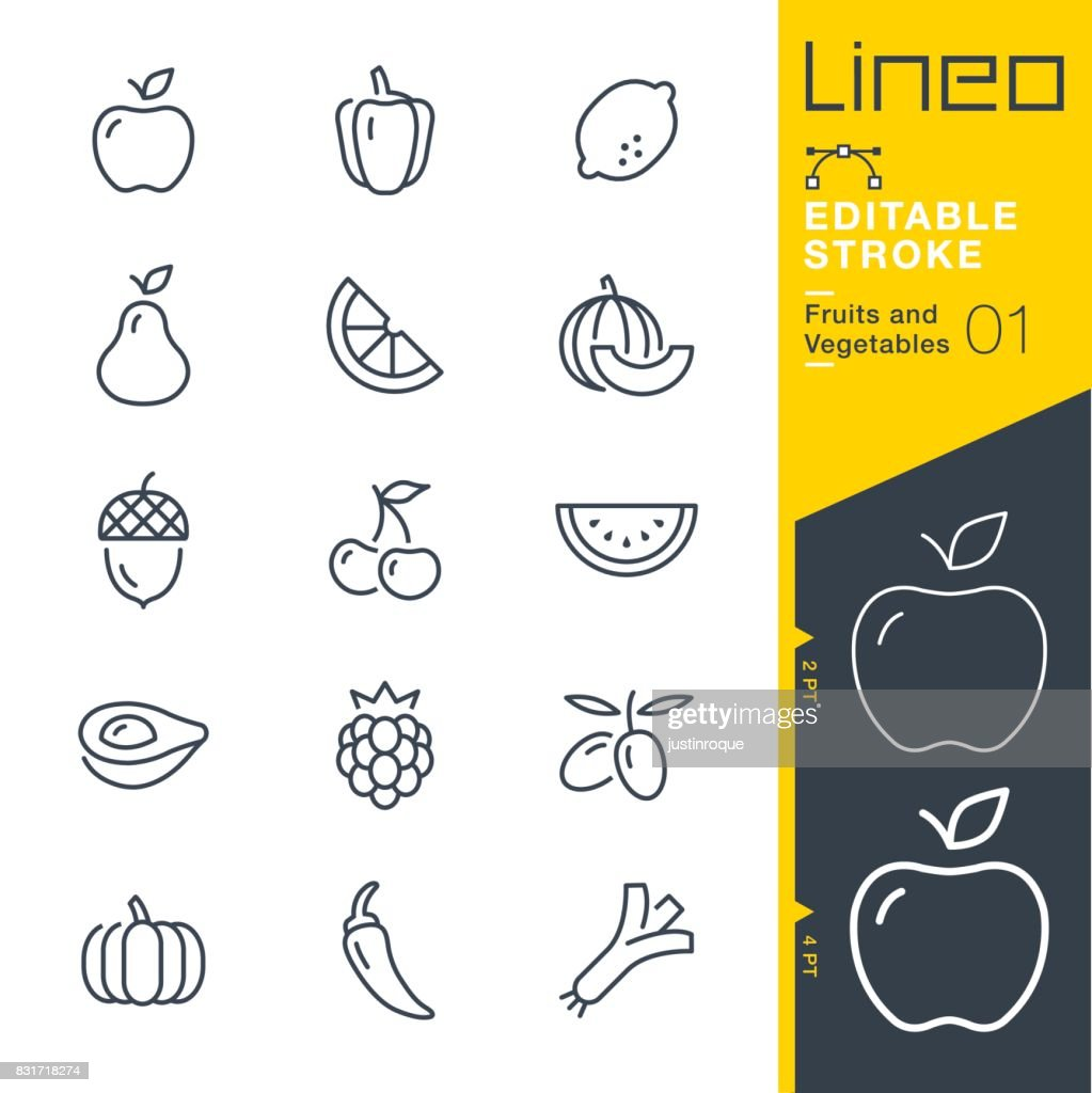 Lineo Editable Stroke - Fruits and Vegetables line icons