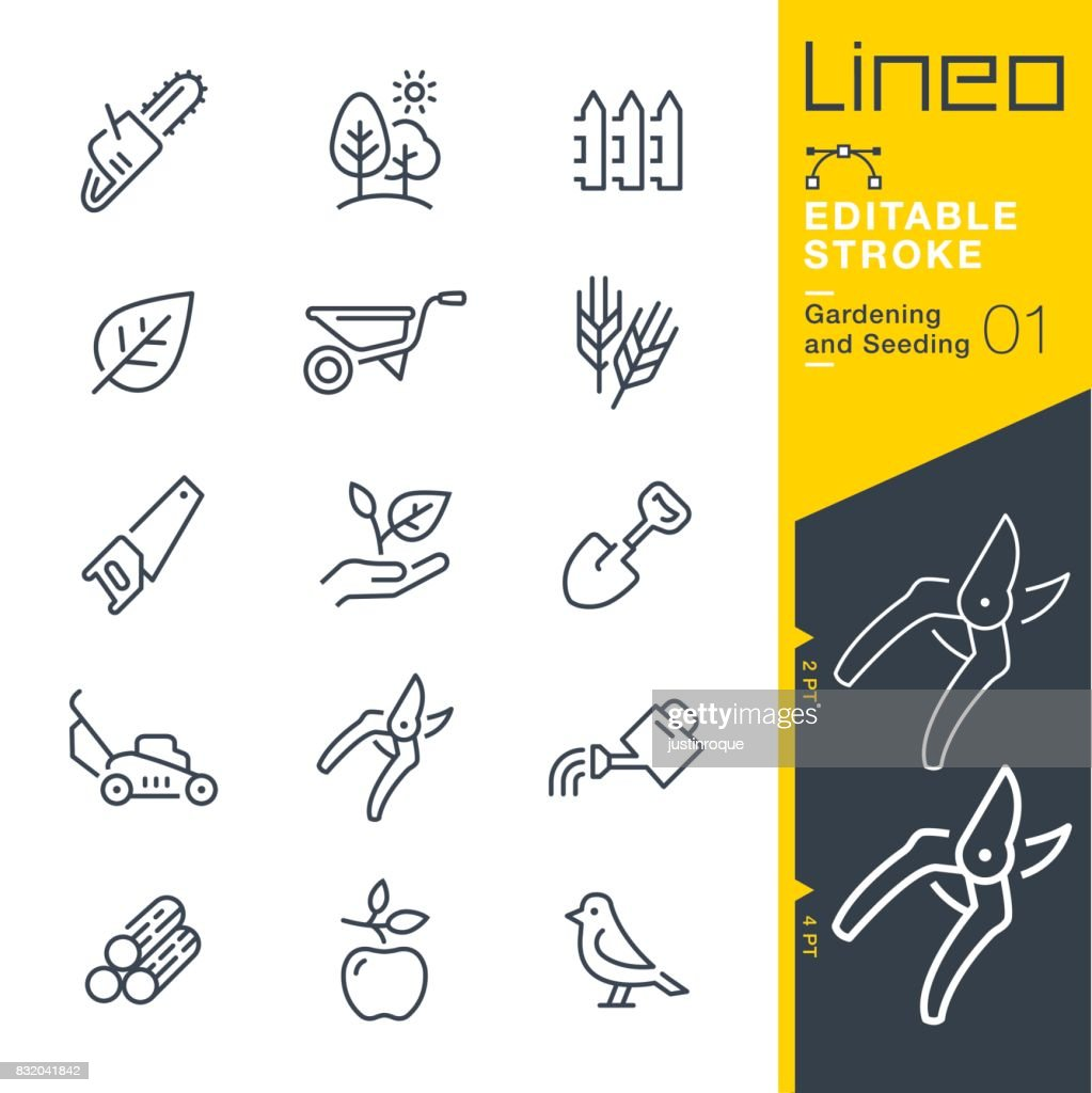 Lineo Editable Stroke - Gardening and Seeding line icons