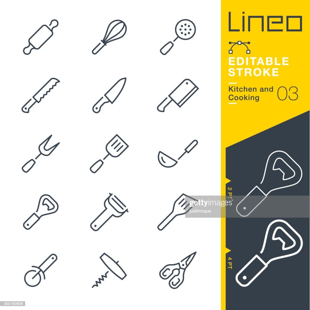 Lineo Editable Stroke - Kitchen and Cooking line icons