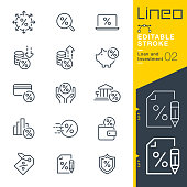 Lineo Editable Stroke - Loan and Investment line icons