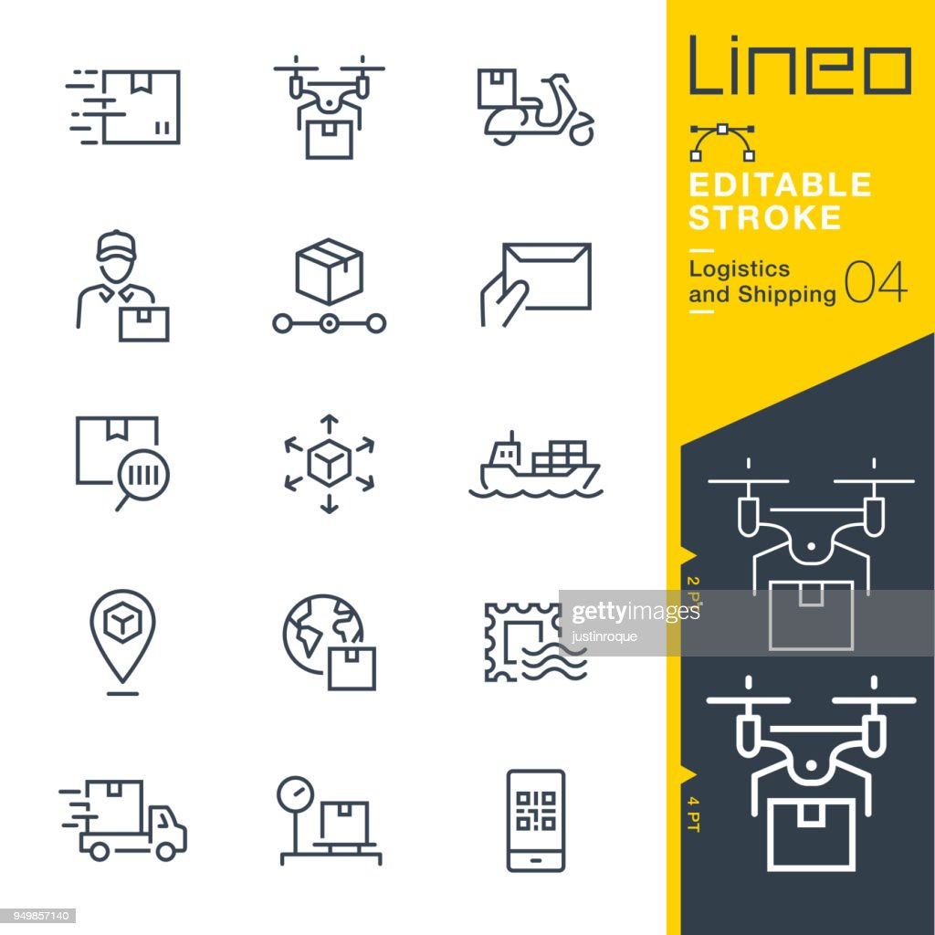 Lineo Editable Stroke - Logistics and Shipping line icons
