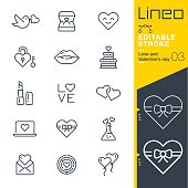 Lineo Editable Stroke - Love and Valentine's day line icons