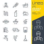 Lineo Editable Stroke - Plumbing line icons