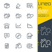 Lineo Editable Stroke - Real Estate and Homes line icons.