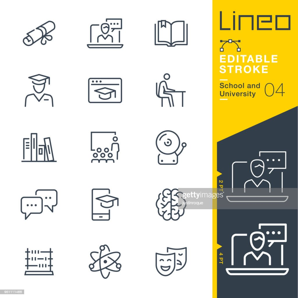 Lineo Editable Stroke - School and University line icons