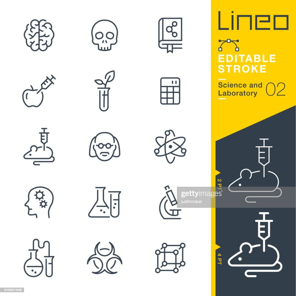 Lineo Editable Stroke - Science and Laboratory line icons