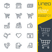 Lineo Editable Stroke - Shopping and E-commerce line icons
