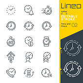 Lineo Editable Stroke - Time and Clock line icons
