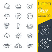 Lineo Editable Stroke - Weather and Meteorology line icons
