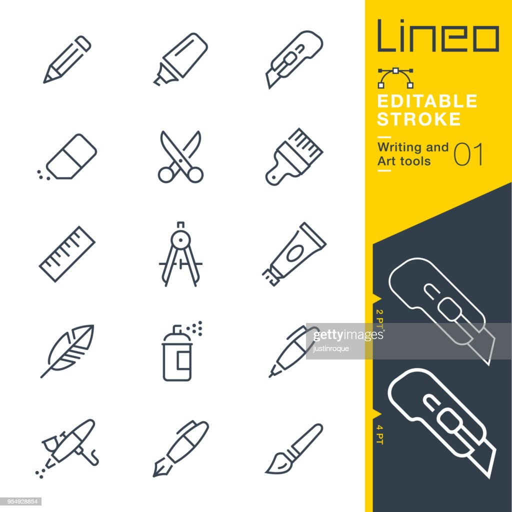 Lineo Editable Stroke - Writing and Art tools line icons