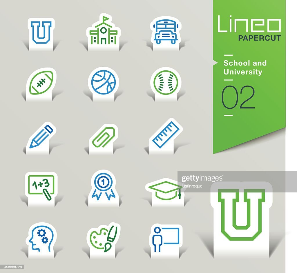 Lineo Papercut - School and University outline icons