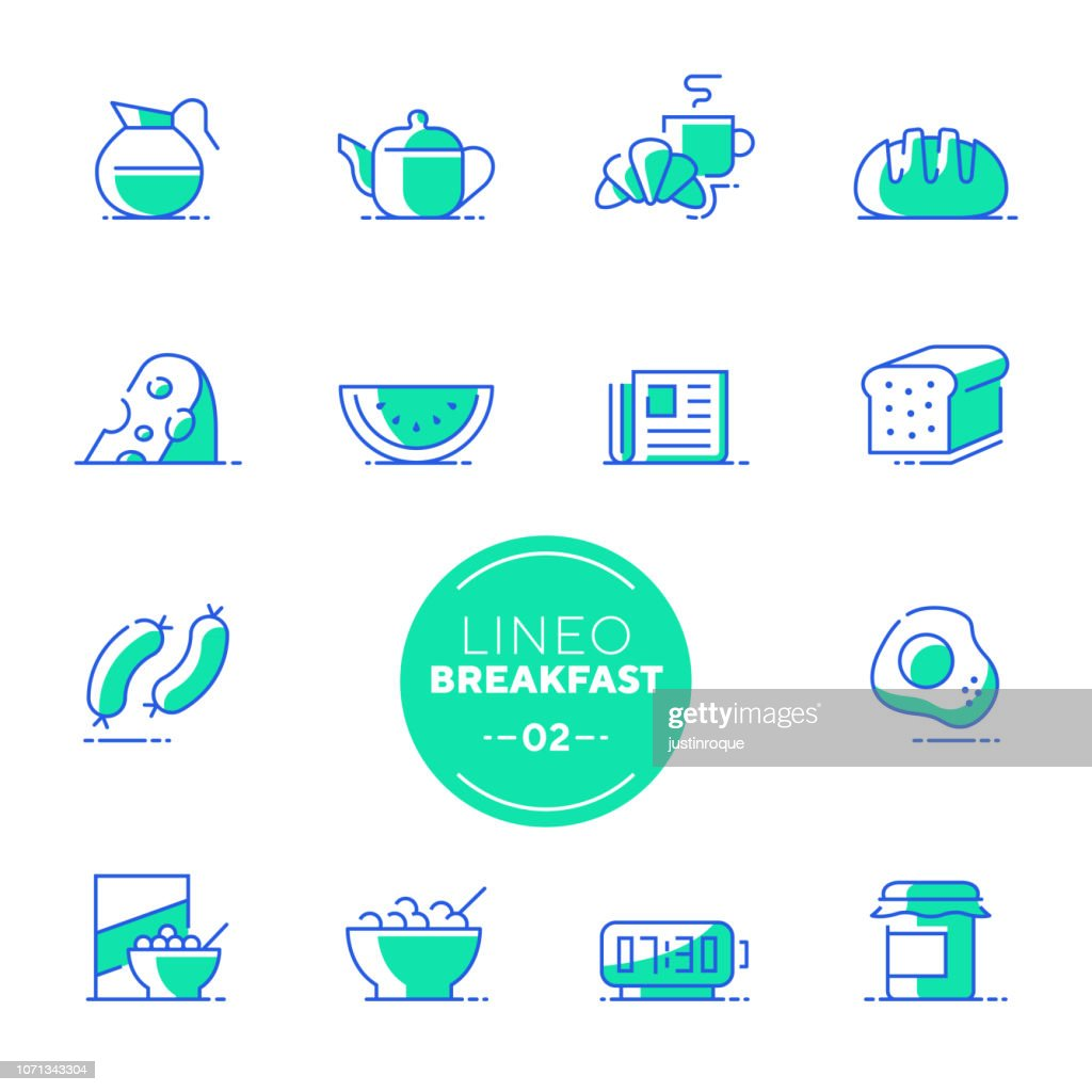 Lineo White - Breakfast and Morning line icons (editable stroke)