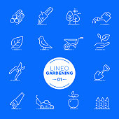 Lineo White - Gardening and Seeding line icons (editable stroke)