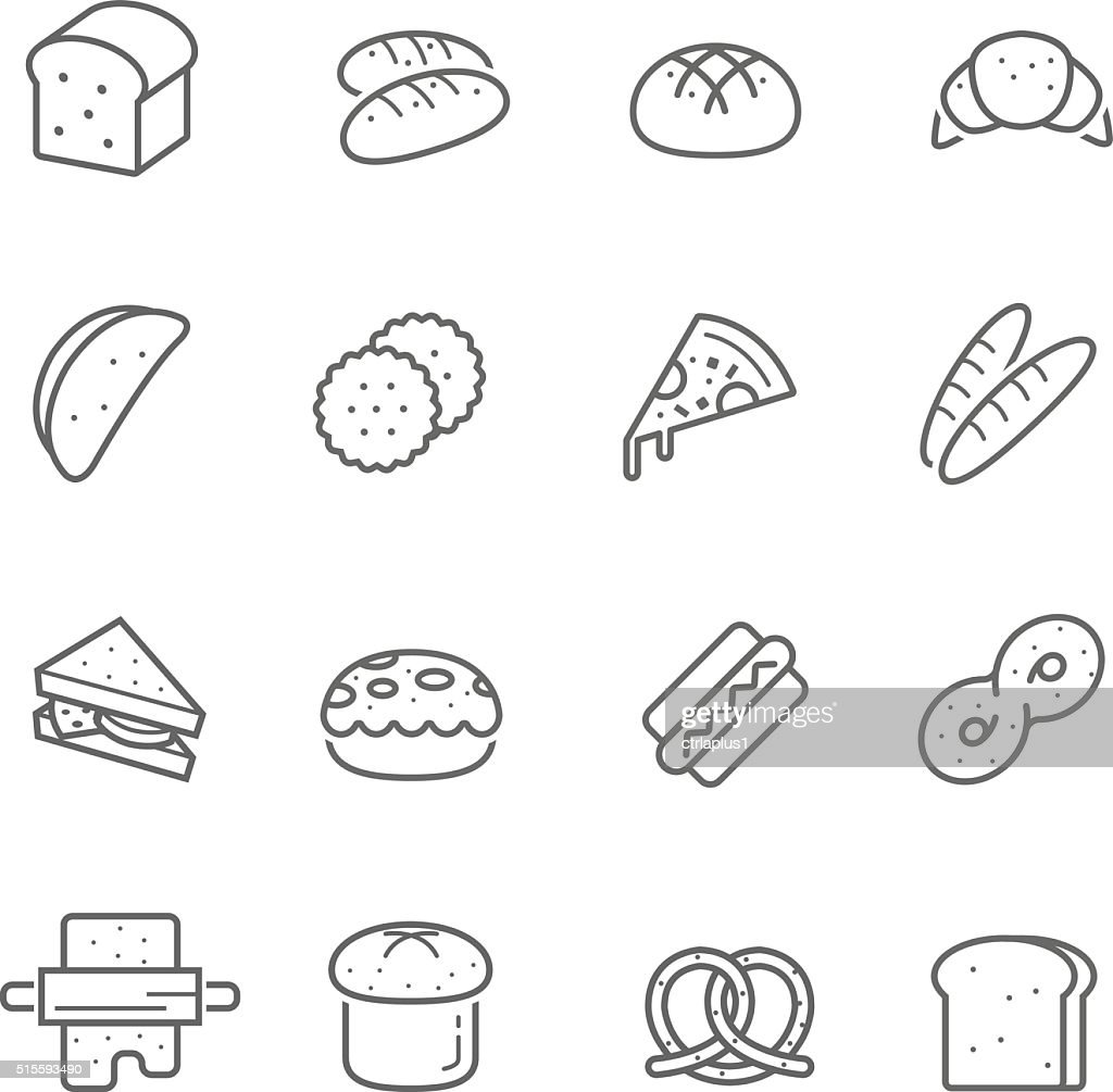 Lines icon set - bread and bakery
