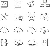 Lines icon set - network communication
