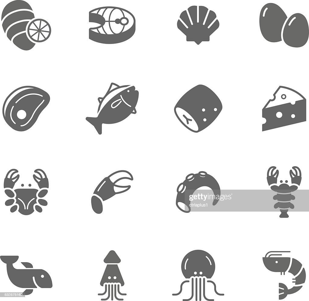 Lines icon set - raw food material