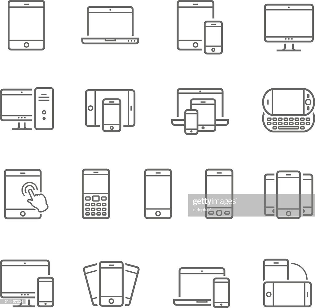 Lines icon set - responsive devices