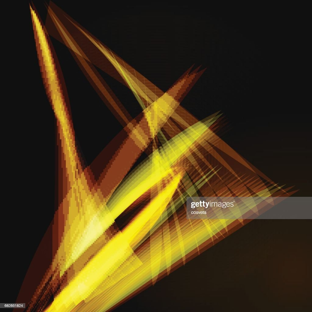 Lines shapes lighting abstract on golden dark background. Vector