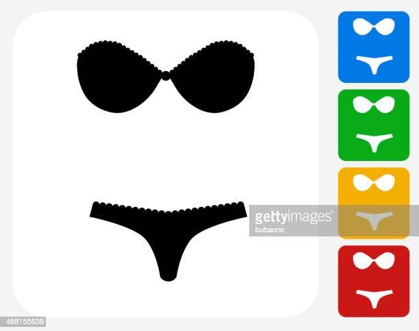 lingerie icon flat graphic design - bra stock illustrations, clip art, cartoons, & icons