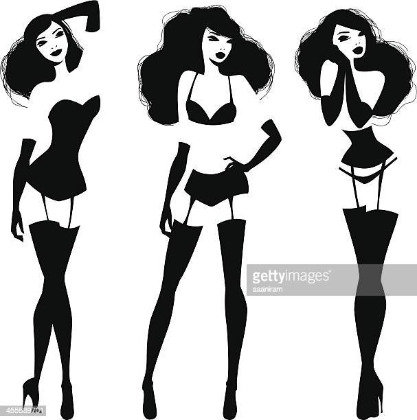 lingerie models - en búsqueda stock illustrations