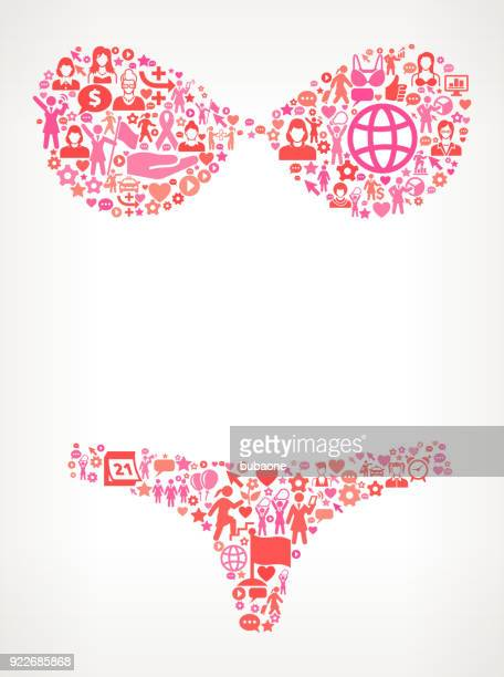 lingerie  women's rights and girl power icon pattern - bra stock illustrations, clip art, cartoons, & icons