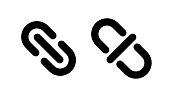 Link and unlink icons Lock and unlock chain symbol