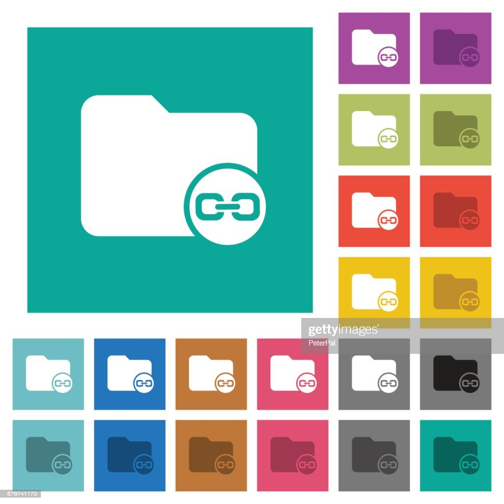 Link directory square flat multi colored icons