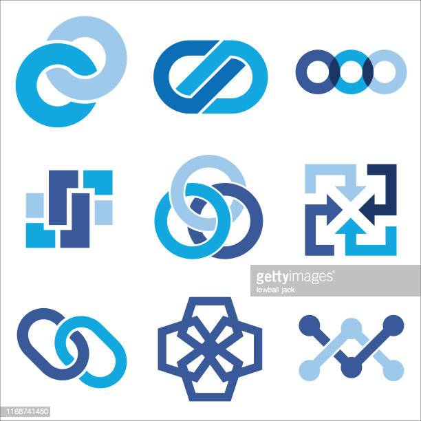 ilustraciones, imágenes clip art, dibujos animados e iconos de stock de enlace logos - cadena