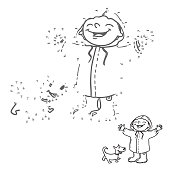 Link the dots. Numbers game for kids. Happy girl and dog in the rain. Coloring book page.