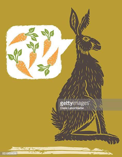 Linoblock Print Of Carrots A Rabbits Thinking Of Carrots