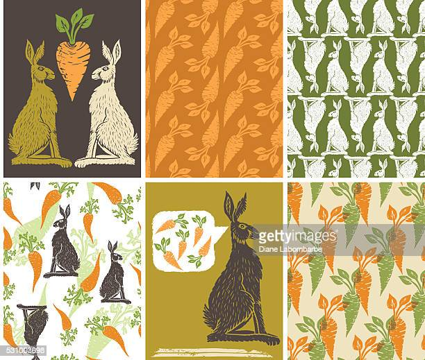Linoblock Print Of Carrots Rabbits & Carrot