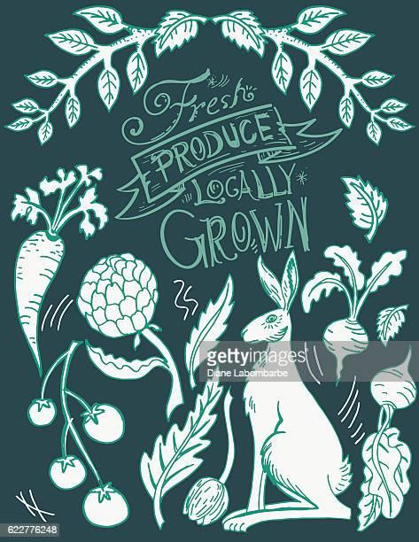 Linoblock Print Of Rabbit And Vegetables