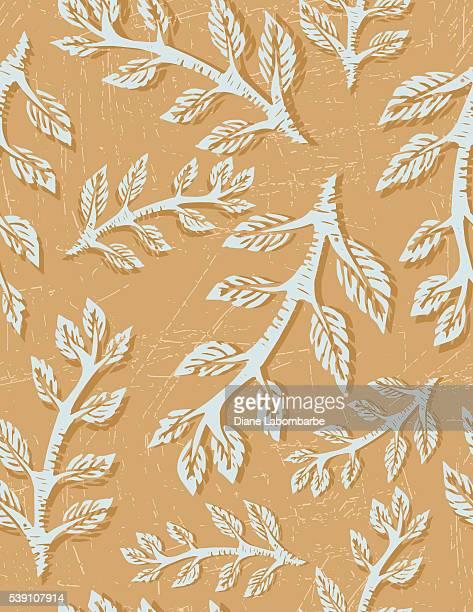 Linocut Block Print Branches Seamless Pattern