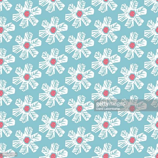 Linocut Block Print daisy Seamless Pattern