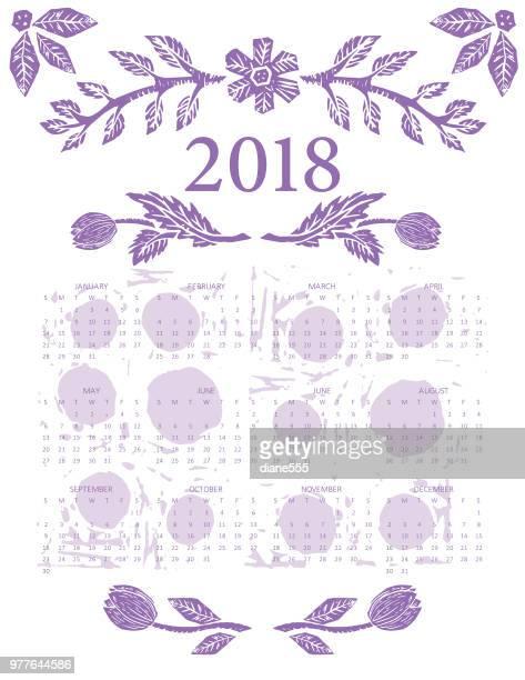 Linocut Block Print Floral 2018 Calendar