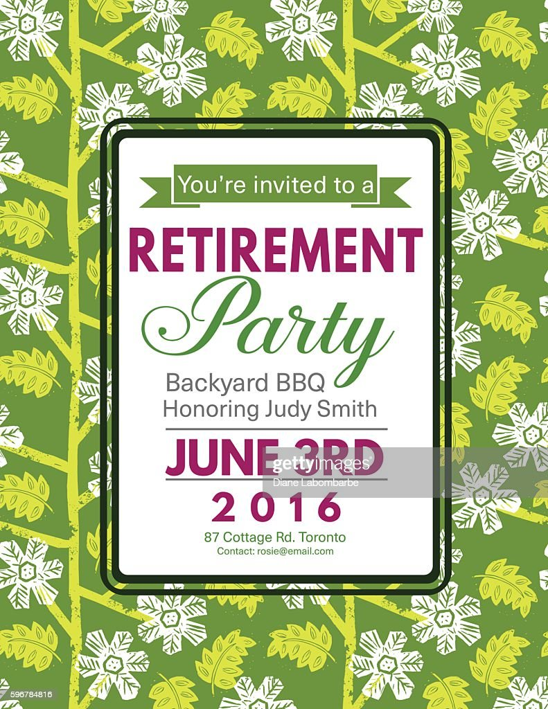 linocut block print pattern retirement party invitation template vector art