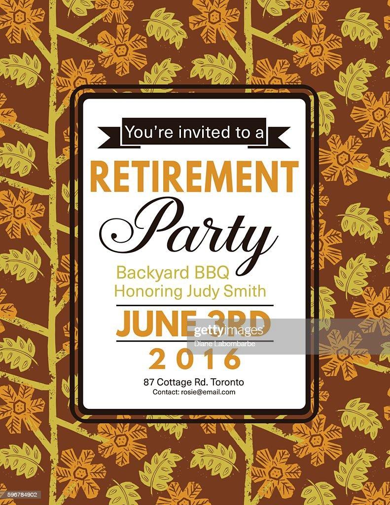 Linocut Block Print Pattern Retirement Party Invitation Template ...
