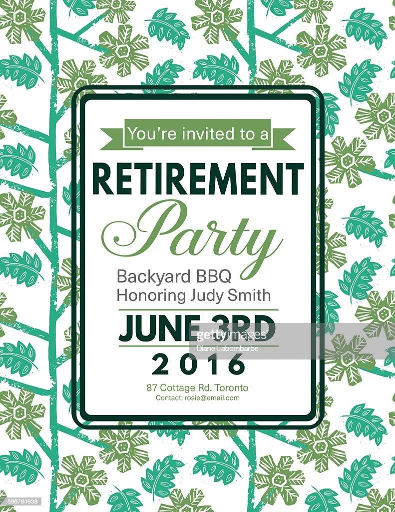 linocut block print pattern retirement party invitation template vector art