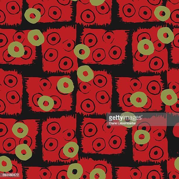 Linocut Block Print Seamless Pattern