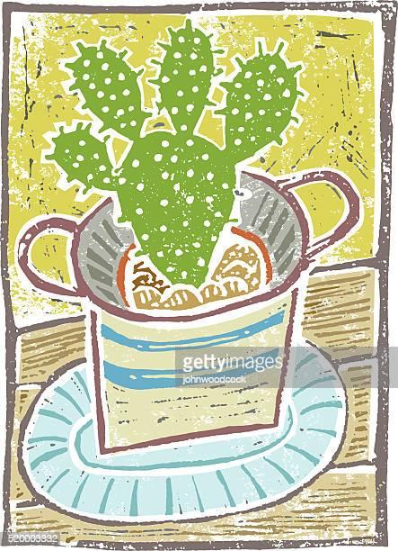 Linocut cactus illustration